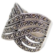 Sterling Silver Wide Marcasite Ring