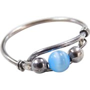 Sterling Silver Blue Cats Eye Bead Ring