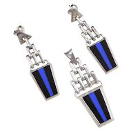 Sterling Silver Black Onyx and Blue Enamel Inlay Set ~ Pendant and Earrings