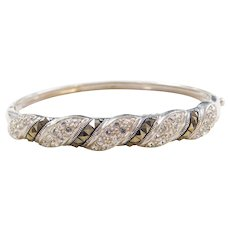 """Sterling Silver Faux Diamond and Marcasite Hinged Bangle Bracelet ~ 7"""""""