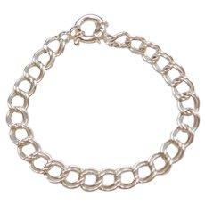 "7"" Sterling Silver Double Link Charm Bracelet"