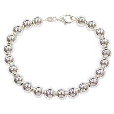 """7 5/8"""" Sterling Silver 8mm Bead Bracelet"""