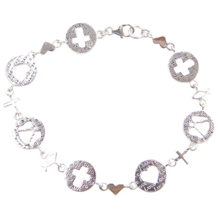 7 1 2 Sterling Silver Faith Love And