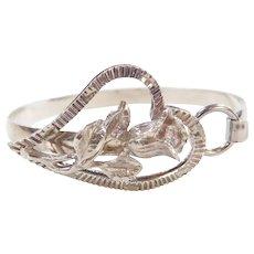 Sterling Silver Rose Flower Heart Bangle Bracelet