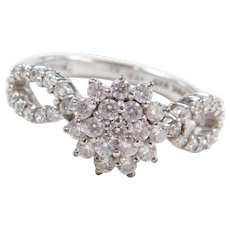 Sterling Silver Faux Diamond Cluster Ring