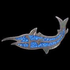 Sterling Silver Turquoise Chip Inlay Swordfish Pin / Brooch