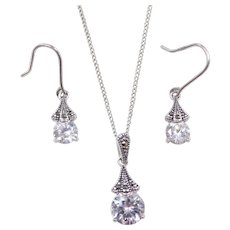 Sterling Silver Faux Diamond and Marcasite Necklace and Earrings Set