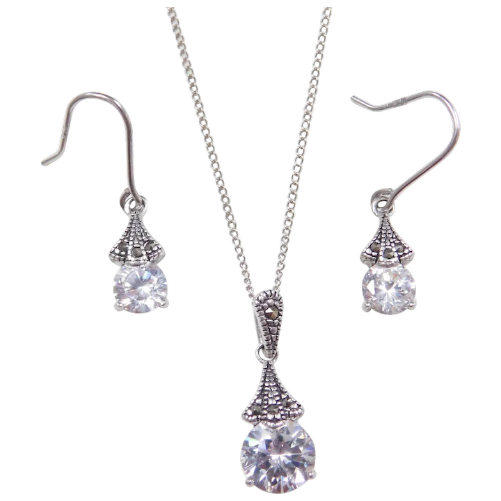 b69be6ea592f8 Sterling Silver Faux Diamond and Marcasite Necklace and Earrings Set