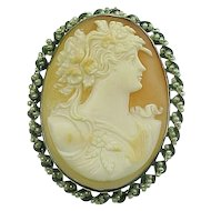 Cameo 14k White Gold & Seed Pearl Bezel Brooch / Pendant