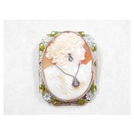 Carved Shell Cameo en Habille 14k White Gold Diamond & Enamel Accent