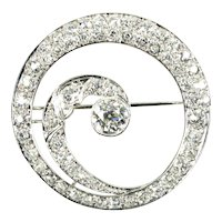 Extravagant 3.65 ctw Diamond & Platinum Spiral Pin/ Brooch