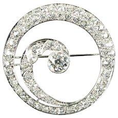 Extravagant 3.65 ctw Diamond & Platinum Spiral Pin/ Brooch