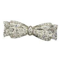 Phenomenal 1 ct Diamond & Platinum Intricate Filigree Bow Pin