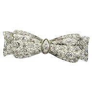 Phenomenal 1 ct Diamond & Platinum Intricate Filigree Bow Pin