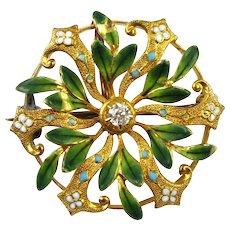 Edwardian Pin / Brooch 14k Gold & Diamond Guilloche Enameling