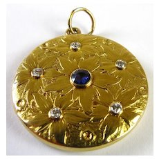 Art Nouveau Repousse Locket 14k Gold, Diamond & Sapphire