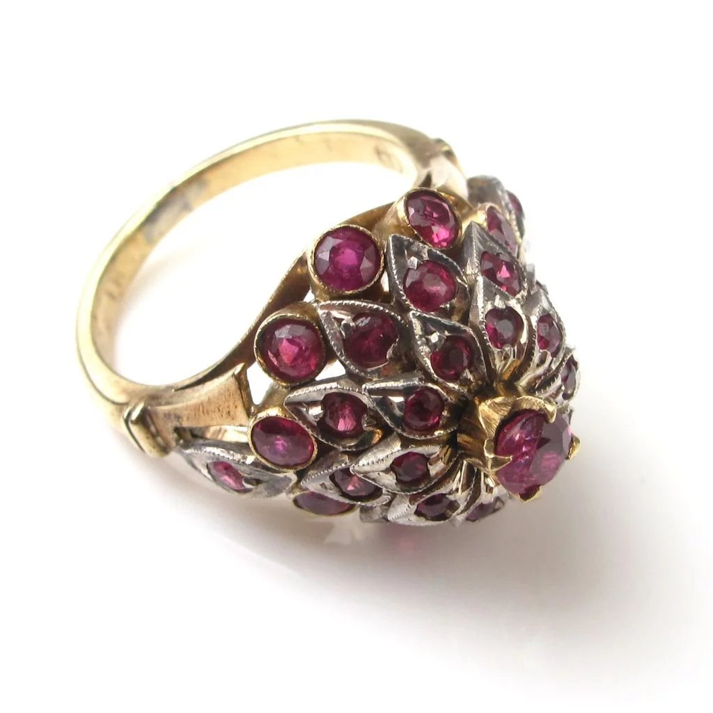 Vintage Dome Ruby Ring 1940 S 10k Gold Amp Sterling Silver