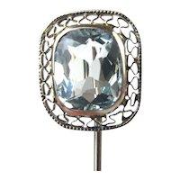 1.50 ct Aquamarine Stunning Art Deco 10k Filigree Stick Pin