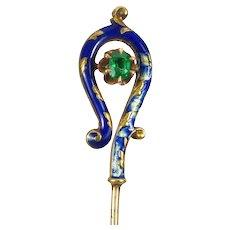 Natural Emerald & Blue Enameled 14 kt Gold Stick Pin