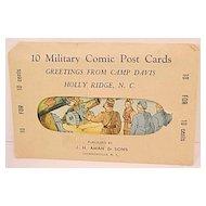 10 Sealed Envelope Military Comic Post Cards WW II  Camp Davis J. H. Aman & Sons
