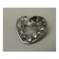 Vintage Rhinestone Sterling Heart Pin - Pink, Amethyst, Clear Stones