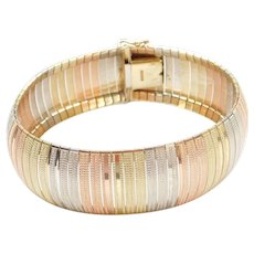 "7 1/4"" 14k Gold Wide Tri-Color Bracelet"