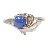 Vintage Lab Created Blue Star Sapphire and Diamond .585 ctw Ring 10k White Gold