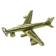 Vintage 14k Gold Charm Commercial Jet Airliner MOVES circa 1950's