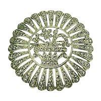 Art Deco Sterling & Marcasite Brooch~ Floral Motif Pierced Details