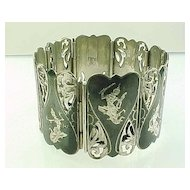 Wide Sterling Silver Bracelet SIAM Goddess Filigree Accent
