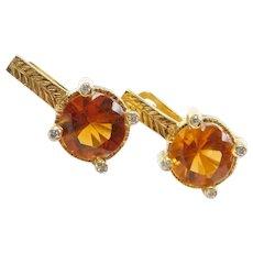 4.68 ctw Citrine and Diamond Earrings 18k Yellow Gold