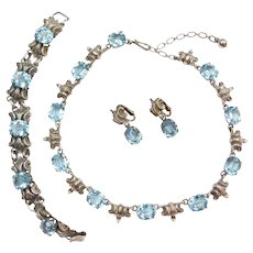 Art Nouveau Revival 102.00 ctw Blue Topaz Sterling Silver Necklace, Bracelet and Clip-On Earrings Set