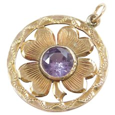 Edwardian Four Leaf Clover Created Color Changing Alexandrite 10k Gold Pendant ~ Lucky Amulet