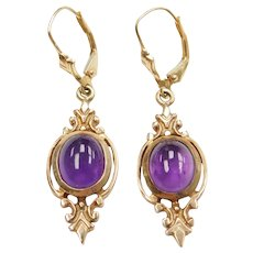 10k Gold 4.80 ctw Amethyst Ornate Dangle Earrings
