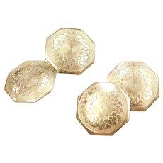 Art Deco 10k Gold Etches Cufflinks