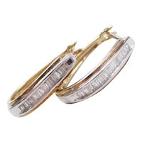 Vintage 10k Gold Two-Tone Diamond Baguette Hoop Earrings