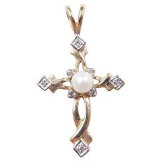 VIntage 10k Gold Two-Tone Diamond and Cultured Pearl Cross Pendant