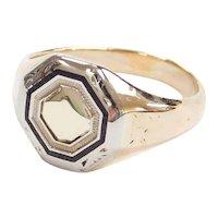 Art Deco 10k Gold Two-Tone Enamel Signet Ring