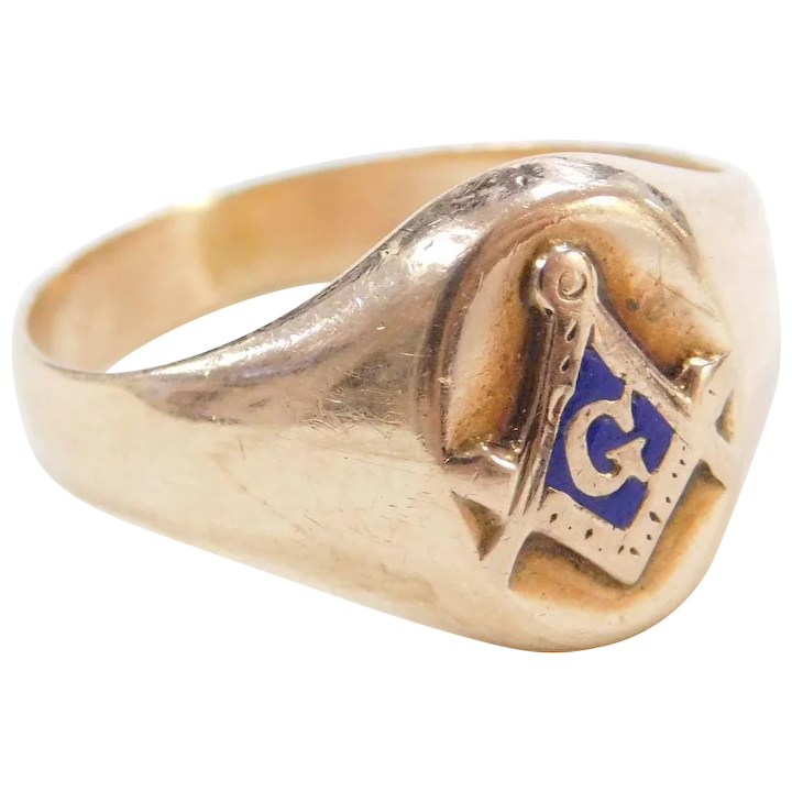 f2fe331a503f4 Vintage 10k Gold Masonic Freemason Ring ~ Blue Enamel