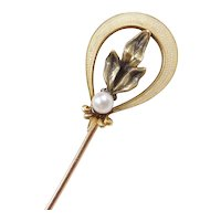 Edwardian 10k Gold Orchid Stick Pin with Seed Pearl