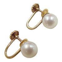 Vintage 10k Gold Cultured Pearl Screw Back Earrings