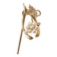 Edwardian 10k Gold Wishbone, Seed Pearl Bunch of Grapes and Leaf Stick Pin