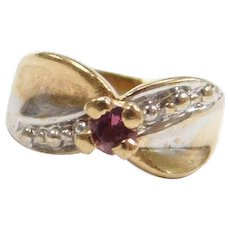 10k Gold Pink Tourmaline Ring CHARM Two-Tone ~ Anniversary, October Birthstone