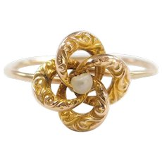 Edwardian 10k Gold Seed Pearl Ring ~ Converted Stick Pin!