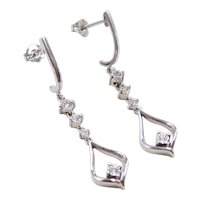 Vintage 10k White Gold Diamond Dangle Earrings