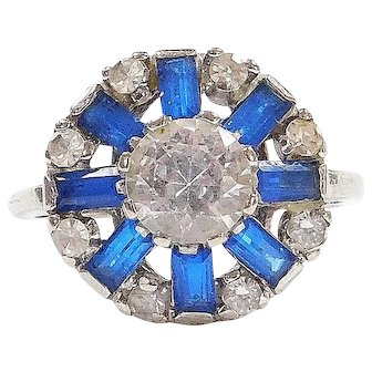 Art Deco 10k White Gold 2.12 ctw Blue and White Spinel Ring