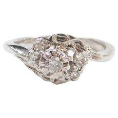 Vintage 10k White Gold Dainty .10 ctw Diamond Ring