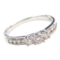 .54 ctw Diamond Past, Present and Future Diamond Engagement Ring 10k White Gold