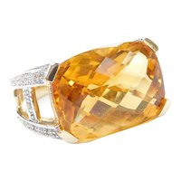 10.04 ctw Citrine and Diamond Two-Tone 14k Gold Cocktail Ring