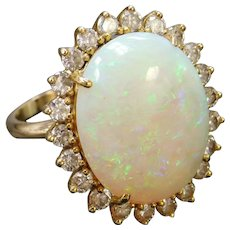 BIG 10.04 ctw Natural Opal and Diamond Halo Ring 14k Gold